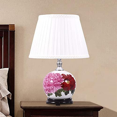 Lámpara De Mesa Redonda De Cerámica China Patrón De Flores Luz De Mesa Pantalla De Tela Plisada Dormitorio Lámpara De Noche Sala De Estar Decoración De Iluminación Del Hogar (Color : A)