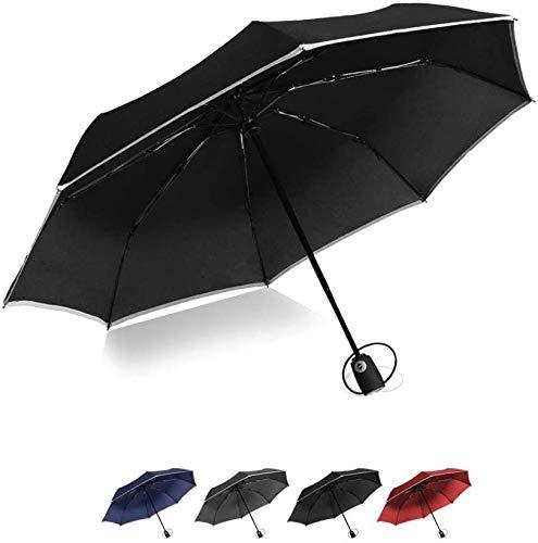 Paraguas de viaje compacto de apertura y cierre automático portátil plegable con revestimiento de teflón, diseño de rayas reflectantes, ligero para viajes