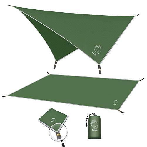 Grassman Campingplane, wasserdichtes Zelt mit Tragetasche, tragbar und kompakt, multifunktionale Hängematten-Plane für Camping, Wandern Überlebensausrüstung, 180,3 x 210,8...