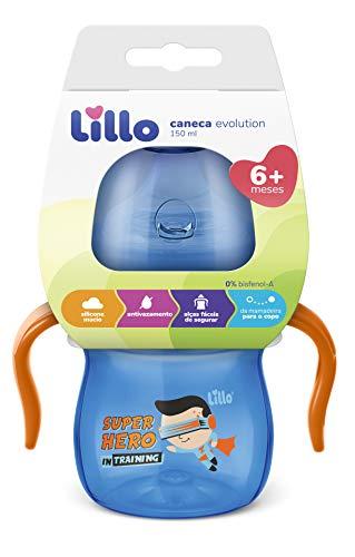 Lillo Caneca Aprendizado C/ Alça Evolution Bebedor SIL 150 ml - Menino, Lillo, Azul/Laranja