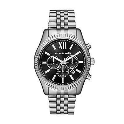 Michael Kors Men's Lexington Analog-Quartz Watch with Stainless-Steel Strap, Silver, 22 (Model: MK8602)