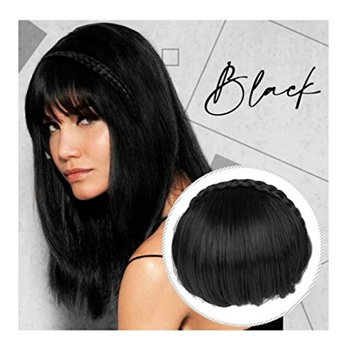 Iusun Hair Bangs Hair Extension Fringe Wig Instant Braid Hairband Synthetic Bangs Heat Resistant Bangs for Lady (A)