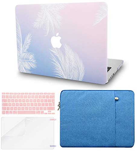 KECC Laptop Case for MacBook Pro 13' (2020/2019/2018/2017/2016, Touch Bar) w/Keyboard Cover + Sleeve + Screen Protector (4 in 1 Bundle) Hard Shell A2159/A1989/A1706/A1708 (Blue Feather)