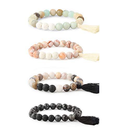 Milacolato 4 stücke Ätherisches Öl Diffusor Perlen Armbänder für Frauen Mädchen Edelstein Stretch Quaste Armband Lava Stein Armbänder