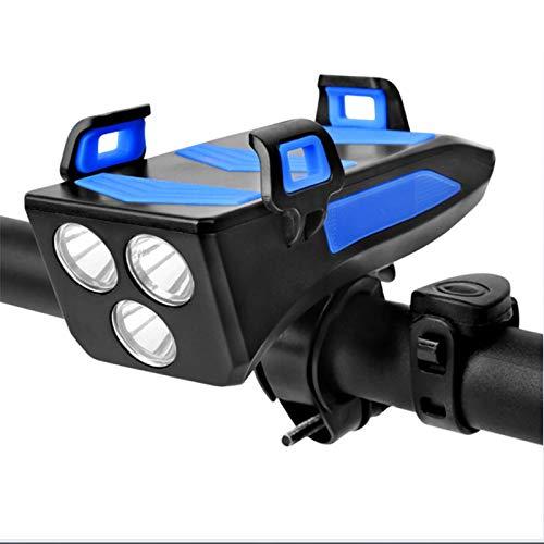 PPBB Faros Delanteros de luz de Bicicleta de 4000 mAh, Soporte multifunción para teléfono móvil 4 en 1, Linterna, Altavoz, Equipo de Ciclismo, Bicicleta, conducción Nocturna, Carga, Tesoro,Azul