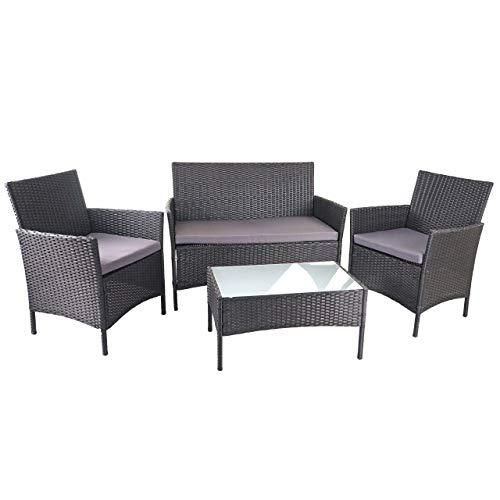 Mendler Poly-Rattan Garten-Garnitur HWC-D82, Sitzgruppe Lounge-Set ~ schwarz mit Kissen anthrazit