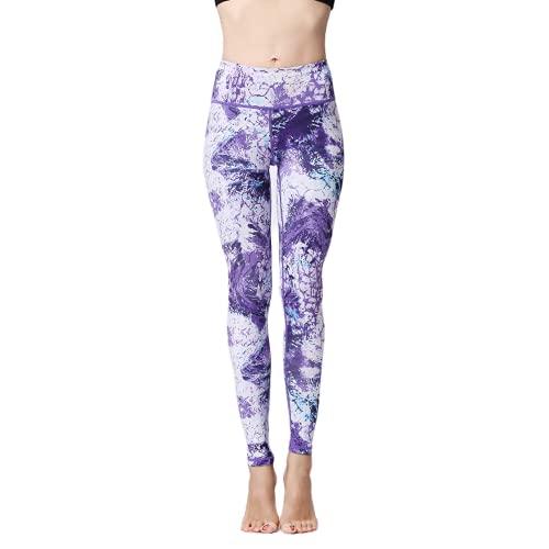 QTJY Pantalones de Yoga de Hoja Negra, Leggings de Camuflaje elásticos Femeninos, Caderas de Cintura Alta, Pantalones de Yoga para Correr al Aire Libre G XL