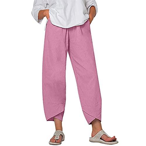 riou Pantalones de Lino para Mujer Pantalones de Jogging de Verano Color Sólido Pantalones de Entrenamiento Holgados con Bolsillos, Pantalones Mujer Anchos con Bolsillos Baratos
