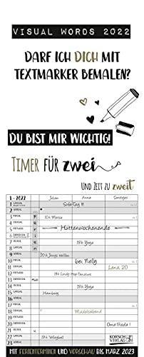 Visual Words Timer für 2 2022: Familienplaner mit 3 breiten Spalten. Typo-Art Familienkalender mit Ferienterminen, Vorschau bis März 2023 und vielem mehr.