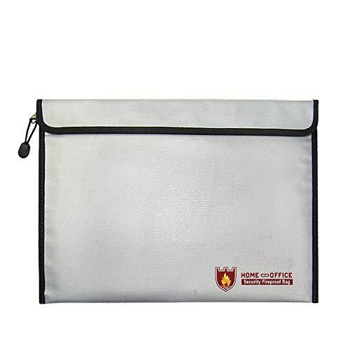 Bolsas para documentos Resistente al fuego Impermeable Silicona líquida Aislamiento térmico Resistente al fuego y al agua Bolsa segura Suministros de oficina (Silver)