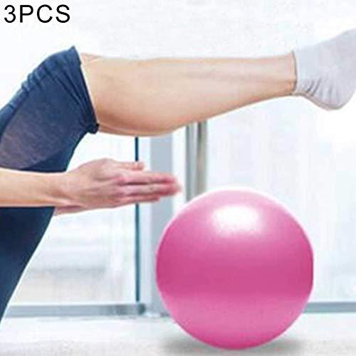 3 PCS Mini Yoga Pilates bola a prueba de explosiones de PVC bola equilibrada gimnástico de la aptitud ejercicio de entrenamiento con paja, Diámetro: 25 cm (rosa) Práctico equipo de gimnasia en el hoga
