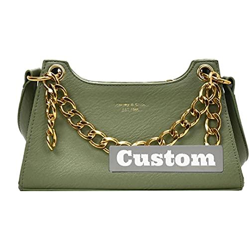 Nombre Personalizado Personalizado Grande para Bolsos de Mujer Bolsa de Cuero Strap Crossbody Bag Lightweight (Color : Green, Size : One Size)