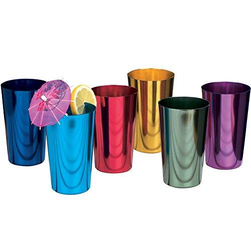 Toysdone ALUMINUM TUMBLERS Retro Jewel Aluminum Colored Tumblers Cups Set of 6, Multicolor,