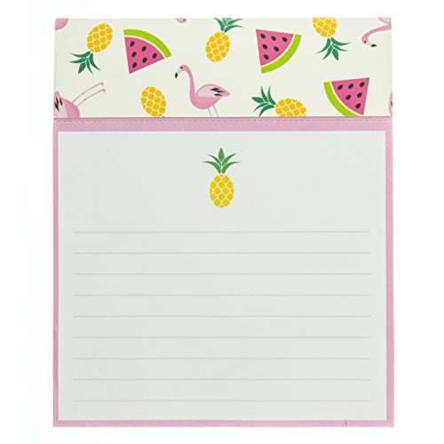 Graphique Summer Pattern Jotter Notepad, Pad of Paper w/ 250 Tearable Ruled Pages and Fun Fruit & Flamingo Design, Great for Kitchen Counters, Nightstands, Desks, and More, 4.5' x 5.5' x 1'