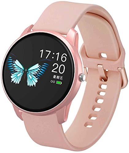 CBCJU Reloj inteligente señoras reloj inteligente 1.06 pulgadas 2.5D pantalla deportes reloj sueño salud monitoreo información recordatorio cámara remoto soporte IOS android-rosa