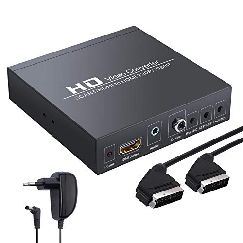 LiNKFOR Scart vers HDMI Convertisseur SCART+HDMI vers HDMI Convertisseur Adaptateur HDMI vers HDMI Converter Support 480i(NTSC)/576i (PAL) vers Signal HDMI 720p/1080p pour HDTV STB PS3 Sky BluRay DVD
