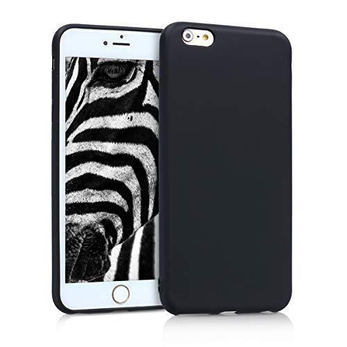 kwmobile Cover Compatibile con Apple iPhone 6 Plus / 6S Plus - Protezione Back Case Silicone TPU Effetto Metallizzato - Custodia Morbida Nero Metallizzato