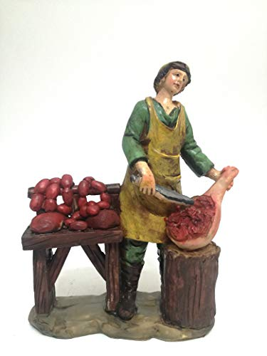 Creare Italia S.R.L. Presepe Mestieri Salumiere Scala H cm 20 Personaggi Presepe Figure Presepe Statue Statuine Decorazione Presepe H cm 20