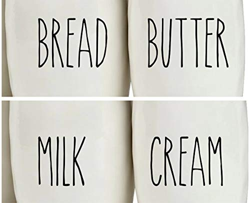 by Imagnt Studio Bread Butter Milk Cream Decal Set, Rae Dunn Inspired, Kitchen containers Label Decals, Organizing Labels, Home Decor Accessories. Choose Color (Charcoal Black)