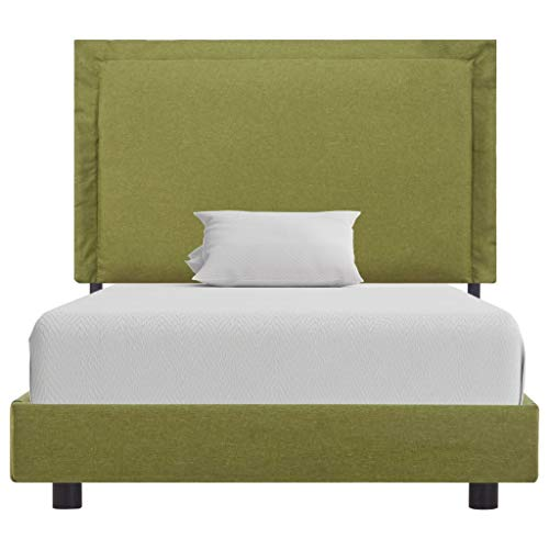 vidaXL Upholstered Bed Classic Fabric Bed Double Bed Single Bed Frame Bed Frame Slatted Frame Bedroom Bed Green Fabric 90 x 200 cm