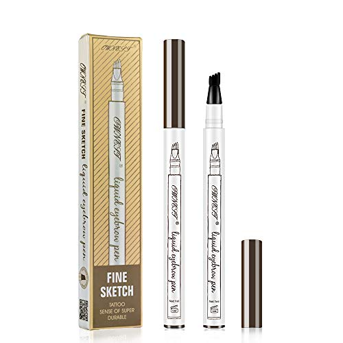Ownest Liquid Tattoo Eyebrow Pen With Four Tips Brow Pen, Long-lasting Waterproof Brow Gel for Eyes Makeup-Chestnut