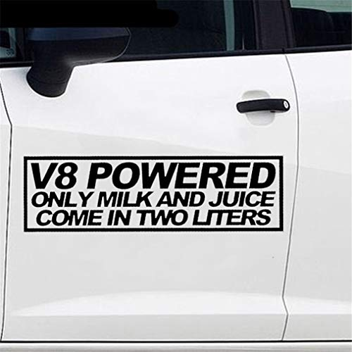 Auto Sticker V8 Powered Only Melk en sap komen in twee liter Sticker grappige Decal auto Styling voor auto Laptop Window Sticker