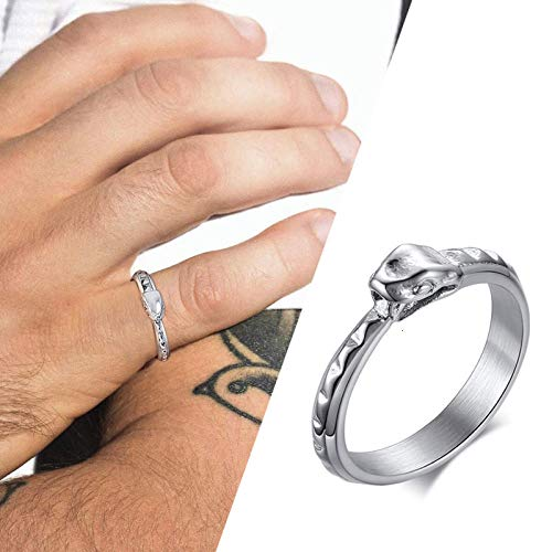 RNXRB Stainless Steel Ouroboros Tail Biting Snake Ring For Men Jweelry Wedding Accessories rings 9
