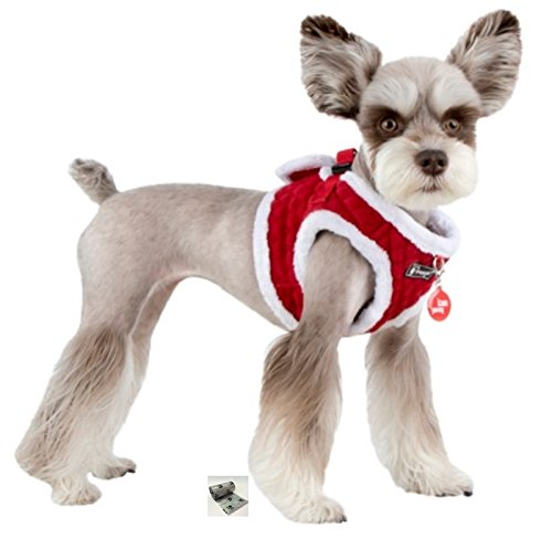 """Puppia Santa's Reindeer Step in Jacket Vest Harness Travel Set with Smart Tag- Plaid or Red – Dog Sizes S Thru XL (Holiday Red, Medium fits Neck 9"""" Chest 15"""")"""