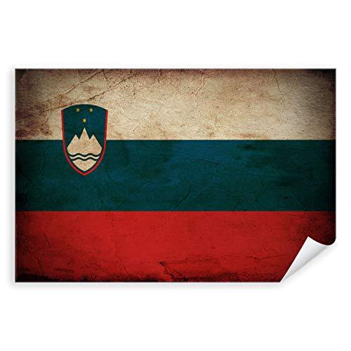 Postereck - 0316 - Vintage Flagge, Fahne Slowenien Ljubljana - Unterricht Klassenzimmer Schule Wandposter Fotoposter Bilder Wandbild Wandbilder - Poster mit Rahmen - 29,0 cm x 19,0 cm