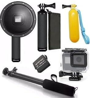 Pacote de Acessórios para Gopro Hero 5 Hero 6 Hero 7 Black com Bateria Dome para fotos aquaticas pau de selfie a prova dagua flutuador amarelo caixa estanque (5 itens)