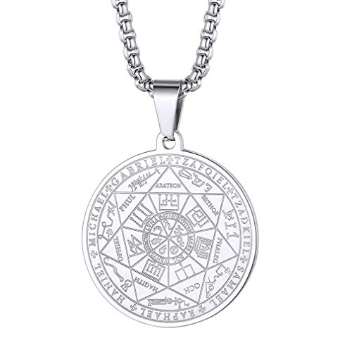 FaithHeart Silver Archangels Pendant Necklace for Men Stainless Steel Saint Michael Sigil Amulet Jewelry with 24 Inch Chain Protective Neck Chains
