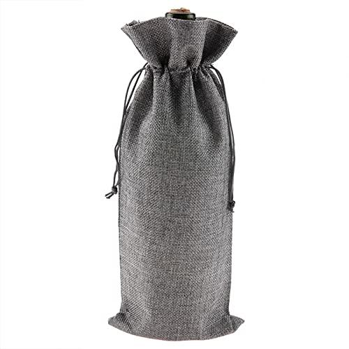 Zerodis Bolsas de Regalo de Vino de Tela de Lino,12PCS 35x15cm/14x6 Bolsa de Soporte de Vino de una Sola Botella con Cubierta Decorativa con cordón para Paquete de Fiesta de Navidad Cumpleaños(Gris)