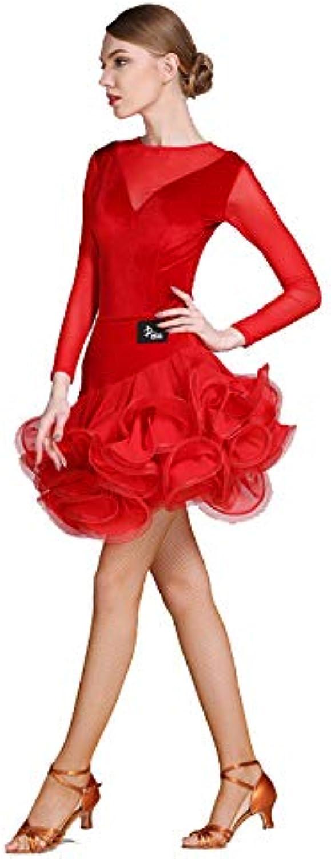 Liu Sensen Modern Lady Big Pendulum Velvet Latin Dance Dress Modern Dance Dress Tango And Waltz Dancing Dress Dance Competition Skirt Long NET Yarn Dress Dance Costume