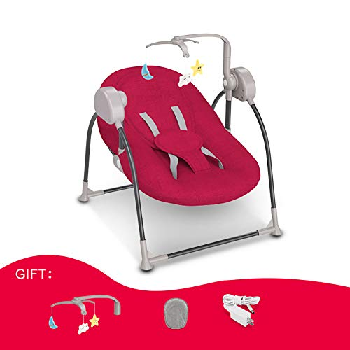 LISI Baby Bouncer Chair Electric Baby Swing Adjustable Backrest Crib Netting Bluetooth Remote Control 5-Point Harness for Toddlers Sleep Seat,Red