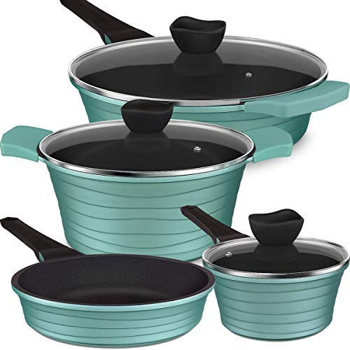 Lightning Deal Pots and Pans Set, Non-Stick Coating from Xylan, Induction Cookware Set with Cool Handles, Dishwasher Safe, PFOA Free, Father's Day Gifts, Turquoise, 7Pcs