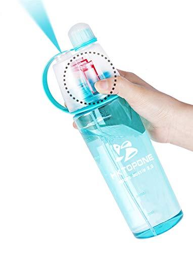 HKTOPONE Niño Rociar Botella de Agua Deporte en Aerosol para Beber Botella de Agua Ciclismo Sin BPA 600 ml para Gimnasio, Ciclismo Correr Escalada Senderismo y montañismo (Azul)