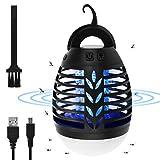 Osaloe Zanzariera Elettrica Esterno, Lampada Zanzara UV LED 2 in 1 e Lanterna da Campeggio, Insetticida USB Ricaricabile per Aree Interne ed Esterne, Tende da Campeggio, Escursionismo, Viaggio (Nero)