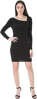 bebe Women's Long Sleeve Asymmetric Neckline Knit Bodycon Dress
