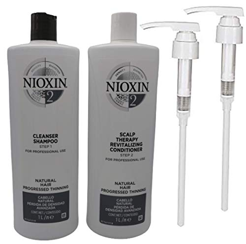 Nioxin System 2 Cleanser Shampoo & Scalp Revitaliser Conditioner Duo Litre Pack + Pumps