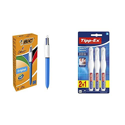 Bic 8934642 4 Colores Original Bolígrafos Retráctiles Punta Medias + Tipp-Ex Shake'N Squeeze Corrector Líquido Ideal Para Profesionales, Fórmula De Secado Rápido Blíster De 2+1, 8 Ml