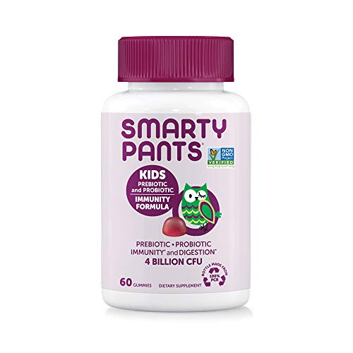 SmartyPants Kids Probiotic Immunity Formula Daily Gummy Vitamins: Probiotics & Prebiotics Boosting Immunity & Digestive Support*, Vegan, 4 bil CFU, Grape, 60 Count (30 Day Supply)Packaging May Vary