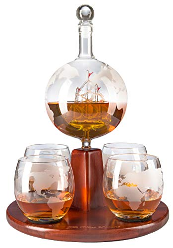 The Wine Savant Whiskey Decanter, World Decanter Globe Decanter with Antique Boat - 4 World Map Glasses