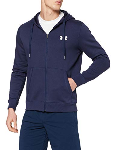 Under Armour Rival Fitted Full Zip Sudadera, Hombre, Azul (Midnight Navy/White 410), L