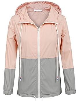 Soteer Womens Lightweight Hooded Raincoat Active Outdoor Waterproof Jacket  Pink/Gray XXL