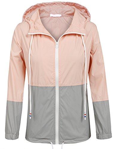 Soteer Women's Waterproof Raincoat Outdoor Hooded Rain Jacket (Pink/Gray M)
