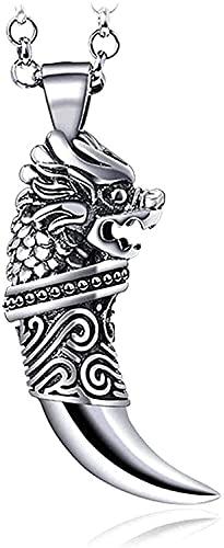 W-RNM S925 Sterling Silver Dragon Head Wolf Tooth Pandant Hombres Personalidad Europa y América Retro Colgante Salvaje Joyería Personalizada Collar de Cuerda de Cuero (Color : Silver)