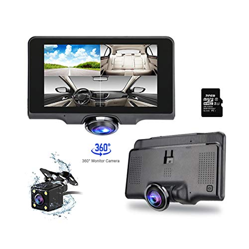 Trochilus 32G Dash Cam,Car Cameras with Night Vision Front and Rear, Dual Dash Cam with 5' IPS Touch Screen and 1080P FHD 180 Wide-Angle, 360 Degrees Panoramic Dashboard Camera Include, G-Senso