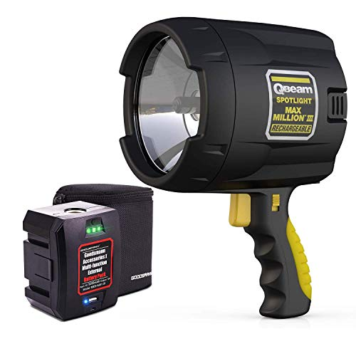Brinkmann Qbeam Max Million III Rechargeable Handheld Spotlight with multifunctional GOODSMANN Replacement Battery