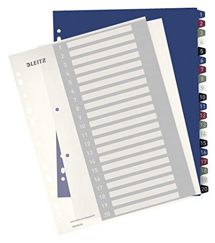 Leitz Register für A4, PC-beschriftbares Deckblatt und 20 Trennblätter, Taben mit Zahlenaufdruck 1-20, Überbreite, Weiß/Mehrfarbig, PP, Style, 12390000