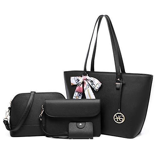 YeumouG Bolsos Mujer Bolsos Mujer Bandolera Bolsos Mujer Grande Cuero PU Bolso Señoras Shopper Totes para Escuela Compras Viaje Oficina 4pcs (Negro)